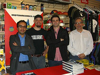 Valiant Comics - From left to right: Valiant Chief Creative Officer Dinesh Shamdasani, Sales Manager Atom! Freeman, Marketing and Communications Manager Hunter Gorinson and Publisher Fred Pierce at Midtown Comics in Manhattan