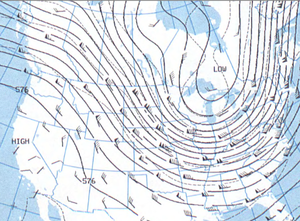 1994 North American cold wave - 500 mb height contours at 7 AM EST on January 18, 1994, showing an upper-level trough.