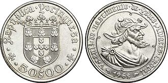 Pedro Álvares Cabral - Portuguese coin celebrating the 500th anniversary of Cabral's birth