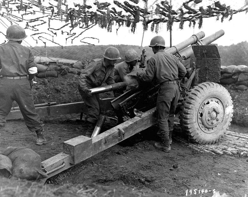 522nd Field Artillery Bn. in action in Bruyères 1944-10-18