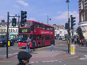 Bakers Arms - A number 56 bus negotiates the busy junction at Baker's Arms in 2010.