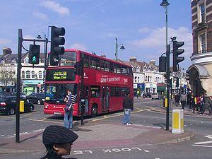 Lea Bridge Road - A number 56 bus on Lea Bridge Road at the Baker's Arms junction