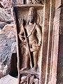 6th century Shaiva guardian with bull elephant fusion artwork (cave 1), Badami Hindu cave temple Karnataka 1.jpg