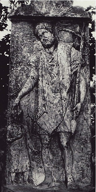 Ancient Thessaly - 7. Thessalian grave stela of a man dressed as a hunter