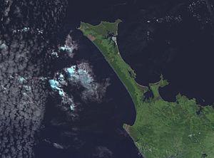 Ninety Mile Beach, New Zealand - NASA satellite photo of the Aupouri Peninsula and Ninety Mile Beach.