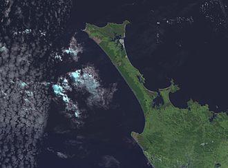Aupouri Peninsula - NASA satellite photo of the Aupouri Peninsula