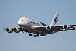9M-MNF Airbus A380 Malaysia Airlines With 100th A380 Titles (13892656125).jpg