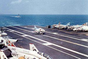 A-4F VA-153 landing on USS Coral Sea (CVA-43) c1968.jpg