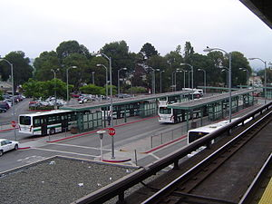 AC Transit - AC Transit buses at Bay Fair BART Station.