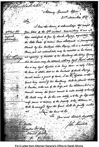 John Shying - Letter from NSW Attorney General to Sarah Shying 1831