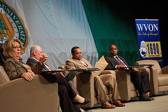 Jonathan Jackson (activist) - Jonathan Jackson, far right, API forum panelist