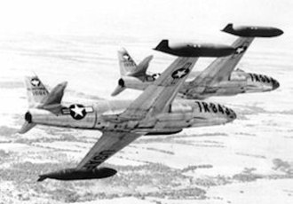 Air Training Command - T-33A (Formerly F-80C) trainers over Williams AFB, Arizona, 1949
