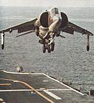 AV-8A Harrier of VMA-513 lands on USS Guam (LPH-9) c1972.jpg