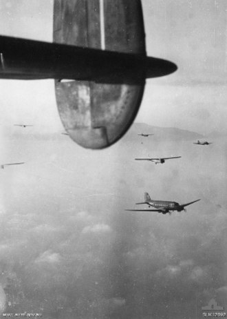 1st Airborne Task Force (Allied) - British gliders towed by C47 Dakota aircraft over Southern France for the Allied airborne invasion.