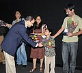 A Child artiste of the film 'Gabhricha Paus' being felicitated during the presentation of the film at the 40th International Film Festival (IFFI-2009), in Panaji, Goa on November 28, 2009.jpg
