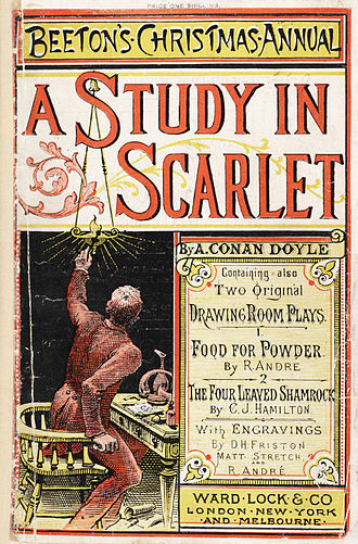 Sherlock Holmes - The cover page of Beeton's Christmas Annual issue which contains Holmes's first appearance in 1887 (A Study in Scarlet)