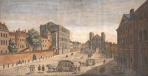 Whitehall, looking south in 1740: Inigo Jones' Banqueting House (1622) on the left, William Kent's Treasury buildings (1733–37) on the right, the Holbein Gate (1532, demolished 1759) at centre.