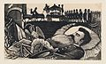 A man lying on his deathbed with a funeral cortege in the background, from a broadside entitled 'Arrival at the capital of the body of General Manuel Gonzalez' MET DP869605.jpg