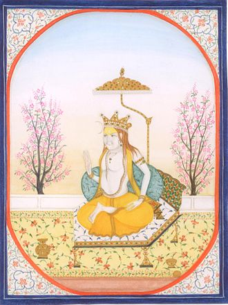 Kangra painting - A regal figure seated on a throne, Pahari school