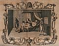A sick man in a bed, receiving support from members of his Wellcome V0040556.jpg