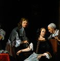A surgeon binding up a woman's arm after bloodletting. Oil p Wellcome V0017547.jpg