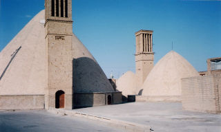 An ab anbar with double domes and windcatchers in the central desert city of Naeen, near Yazd.