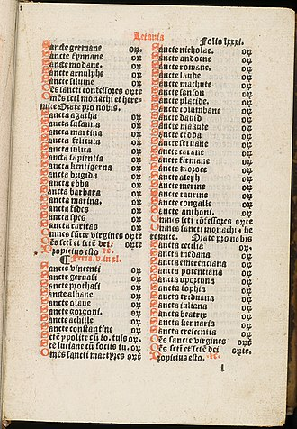 Chepman and Myllar Press -  A litany of saints from the Aberdeen Breviary. Scottish Saints are prominent including, Kentigern, Ebba and Triduana.  (Edinburgh University Library).