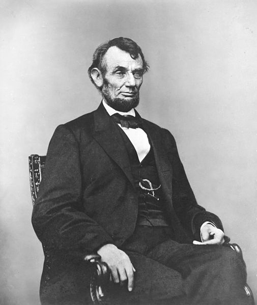Fichier:Abraham Lincoln seated, Feb 9, 1864.jpg