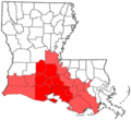 Acadiana and Cajun Heartland USA Louisiana region map.png