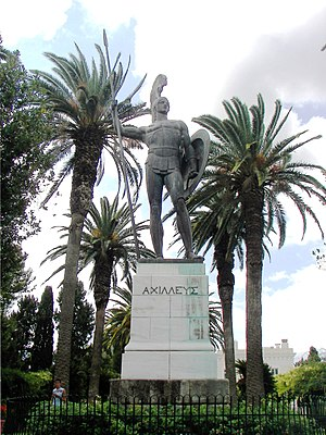 Ionian Islands - Statue of Achilles in the gardens of the Achilleion (Corfu).