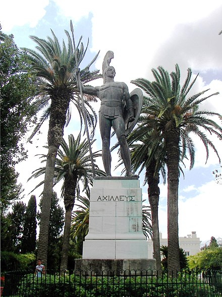 The statue of Achilles in the gardens of the Achilleion (Corfu). Achilles in Corfu.jpg