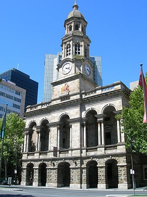 Adelaide Town Hall - The Adelaide Town Hall's clock tower is a feature of King William Street