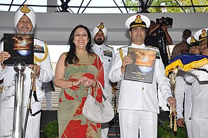Indian Naval Academy - Admiral RK Dhowan releasing the Coffee Table Book on INA and officer training in Navy