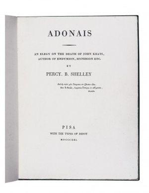 Adonaïs -  1821 title page, Pisa, Italy.