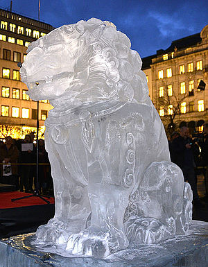 Ice sculpture - Ai Weiwei ice sculptures in Stockholm 2014.