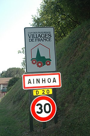 Ainhoa, Pyrénées-Atlantiques - Sign at the entrance of the village
