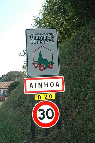 Ainhoa, Pyrénées-Atlantiques - Sign at the entrance of the village