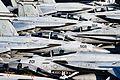Aircraft stand by on the flight deck of USS Dwight D. Eisenhower. (31192050672).jpg