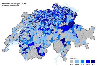 Albanians in Switzerland - Albanian Language spoken in Switzerland