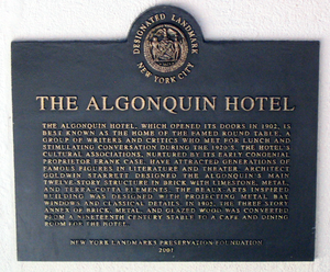 Algonquin Round Table - Algonquin Hotel Landmark Sign