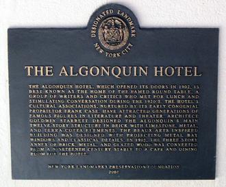 Algonquin Round Table - Algonquin Hotel Landmark Sign