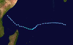 1973–74 South-West Indian Ocean cyclone season - Image: Alice SWI 1973 track