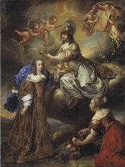 Allegori över Hedvig Eleonora, 1636-1715,  krönes av Minerva