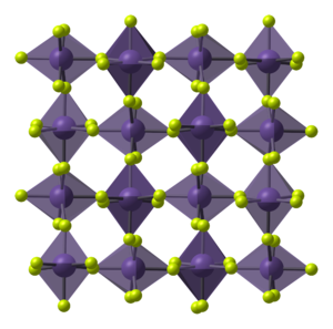 Manganese(IV) fluoride - Image: Alpha Mn F4 from xtal 1987 CM 3D polyhedra