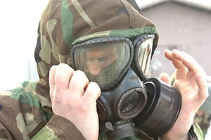 M40 field protective mask - A soldier from the  70th Brigade Support Battalion, 210th Fires Brigade, 2nd Infantry Division wears the M40 during a NBC exercise in South Korea.