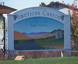 """Welcome to American Canyon; The Gateway to the Napa Valley"" sign"