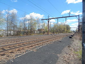 Ampere station - The Ampere station site in April 2015 with the abandoned platforms