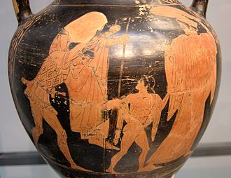Ascanius - Aeneas carrying Anchises, with Ascanius and his wife, red-figure amphora from a Greek workshop in Etruria, ca. 470 BC, Staatliche Antikensammlungen