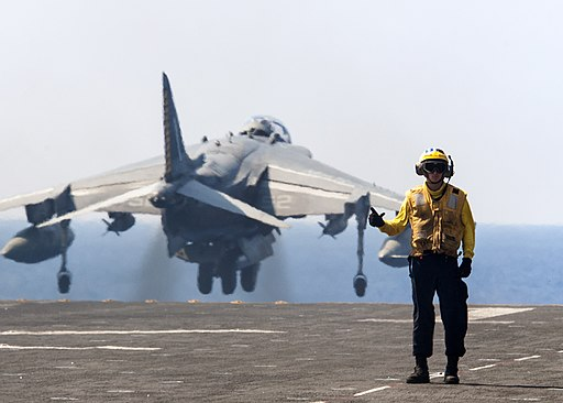 An AV-8B Harrier takes off from the flight deck of USS Wasp. (28739746443)