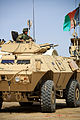 An Afghan Nation Army soldier stands in the turret of an M1117 Guardian Armored Security Vehicle during an indirect fire response drill at Camp Shorabak, Helmand province, Afghanistan, March 19, 2014 140319-M-MF313-105.jpg